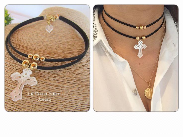 collar doble con cruz