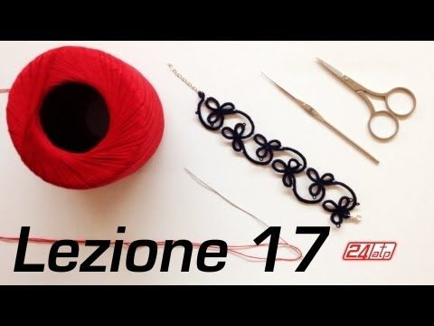 ▶ Chiacchierino Ad Ago - 17˚ Lezione Bracciale Collarino Con Perline Bijoux Tutorial Come Fare Tatting - YouTube