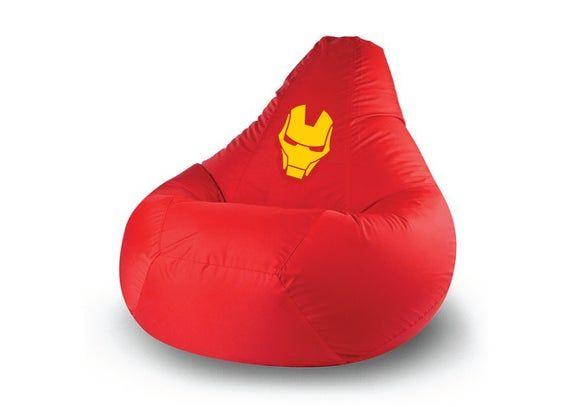 Iron Man Bean Bag Chair Model Iron Man Xxl Superhero Comic Decor Big Yeti Is A Store Of Bean Bags Pillows And Poufs In 2020 Bean Bag Chair Pouf Pillows