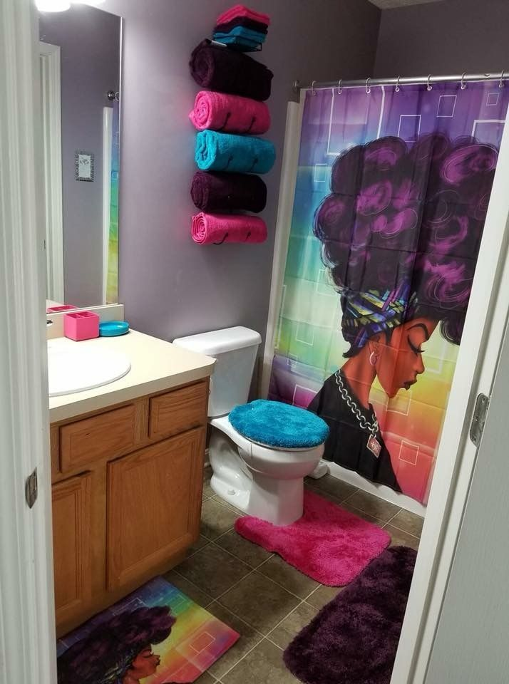 Purple Afro Shower Curtain Home Decorations Boys Bedroom