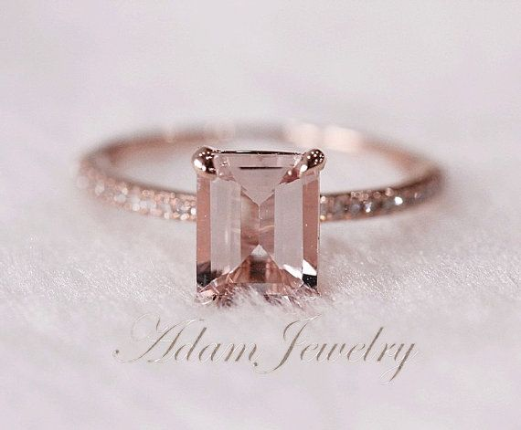 Pink Emerald Cut 6x8mm VS Morganite Ring SI/H by AdamJewelry, $330.00
