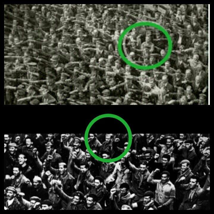 En la foto superior la célebre foto que recoge el instante en que el alemán AUGUST LANDMESSER SE NEGÓ a realizar el saludo fascista. En la de abajo, aunque desconocemos su nombre, el hombre que igualmente se negó a realizar el saludo comunista en la España republicana durante la guerra. Los divergentes...