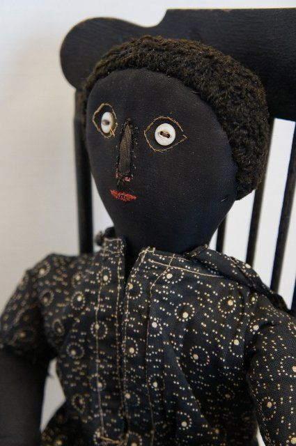 Early black cloth doll with great face, black calico dress antique