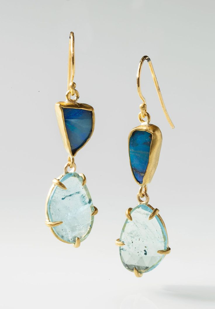 Margery Hirschey - boulder opal & aquamarine earrings