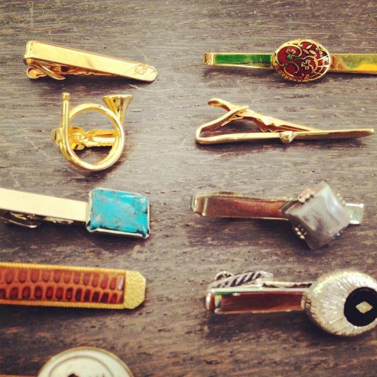 Vintage tie clips -- view board http://pinterest.com/davidos193/essentials-men-s-accessories/