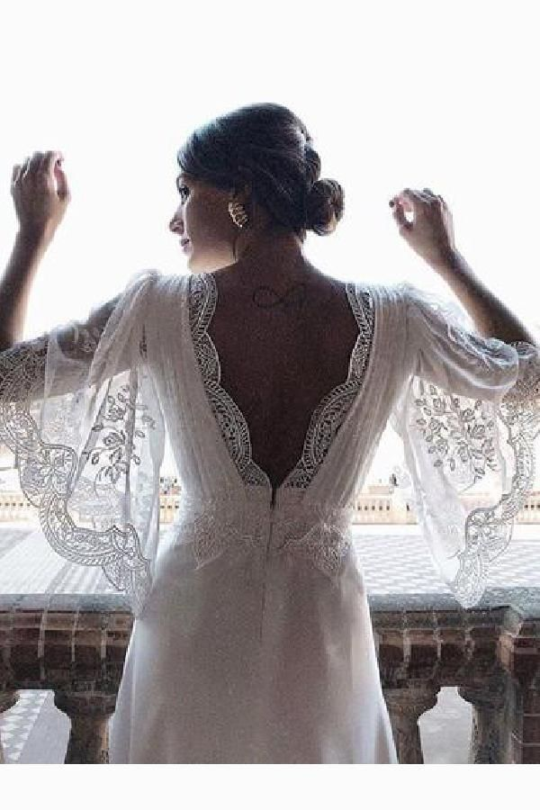 Plus Size Wedding Dresses Lace Wedding Dresses Wedding Dresses With Sle In 2020 Beach Wedding Dresses Backless Lace Wedding Dress With Sleeves Backless Wedding Dress