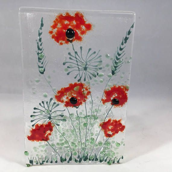Floral Glass Plaque Candle Display Red Poppies Fused Glass