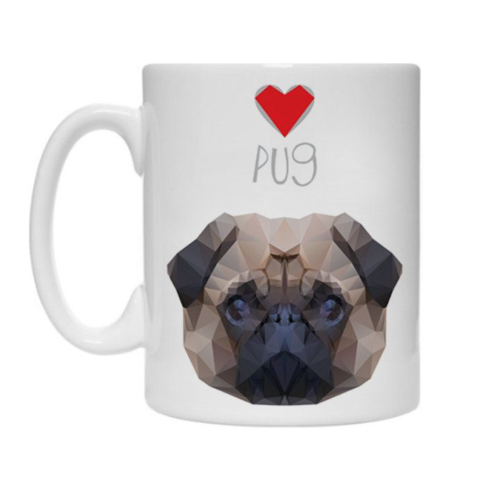 Mug Geometric Pug, Dog Pug Mops Carlin by PSIAKREW on Etsy