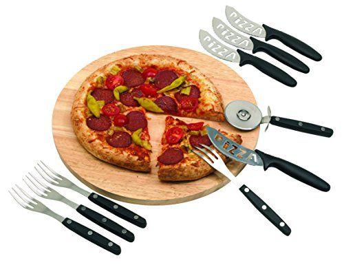 Planche à pizza ronde Taille 32cm avec Roulette à Pizza Couverts 4personnes. Plateau à pizza en bois: Pizza délicieuse pour la visite ou…