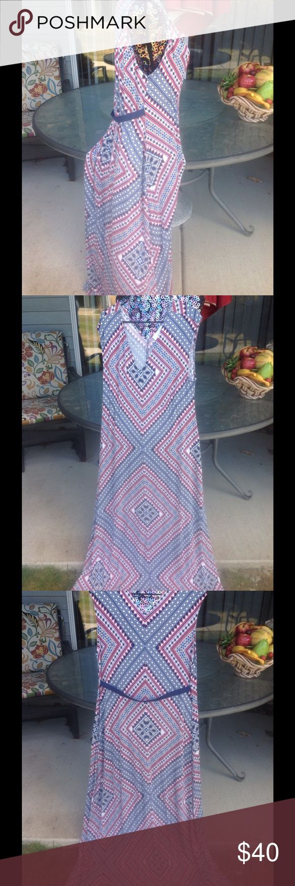 Jessica Simpson maternity maxi dress size xl From Jessica Simpson  maternity soft stretch cotton multi color maxi dress  sleeveless belted back great Preowned condition Jessica Simpson Dresses Maxi
