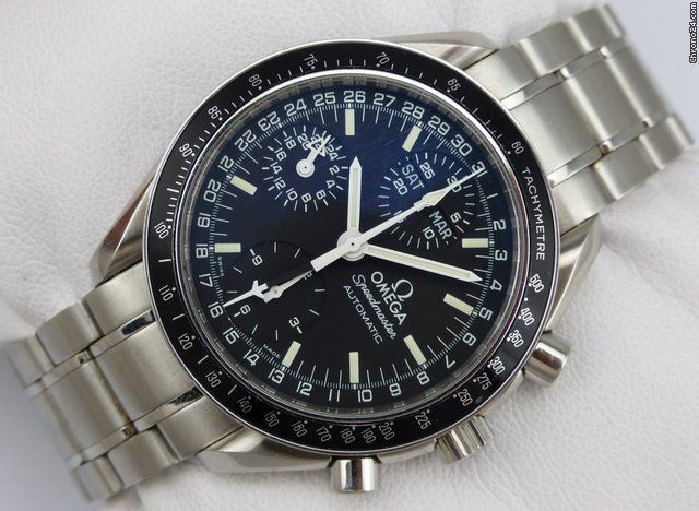 Omega Speedmaster Day Date ad: S$2,716 Omega Speedmaster Chronograph Triple Date Automatic Ref. No. 35205000; Steel; Automatic; Condition 1 (mint); Year um 1995; Location: Germany, Pirma