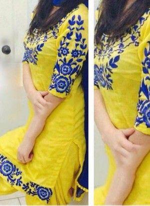 Yellow Cotton Satin With Blue Embroiderey work Punjabi Salwar Kameez at Zikimo