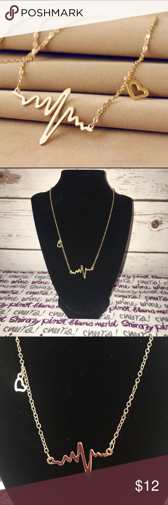 Home college tulane green wave tulane green wave silver plated - Simple Wave Gold Plated Heartbeat Necklace Boutique