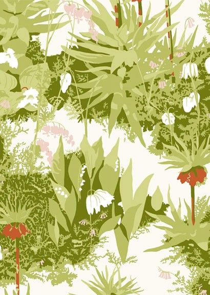 Kejsarkrona von Boras - Rot/ Rosa/ Grün auf Weiß