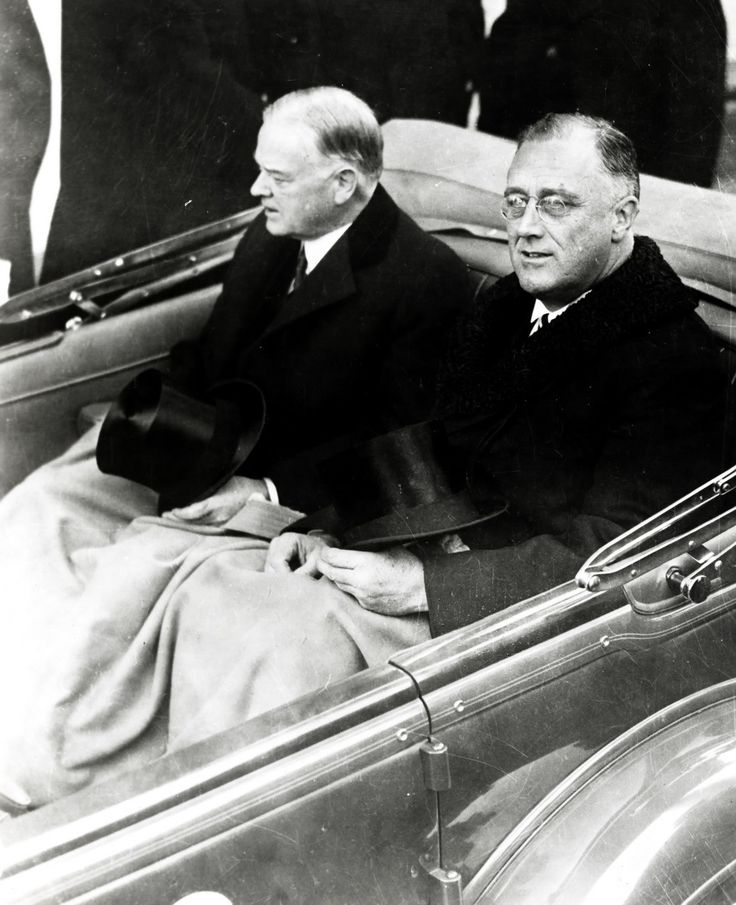 Hoover and Roosevelt on Franklin D. Roosevelt's Inauguration Day March 4, 1933
