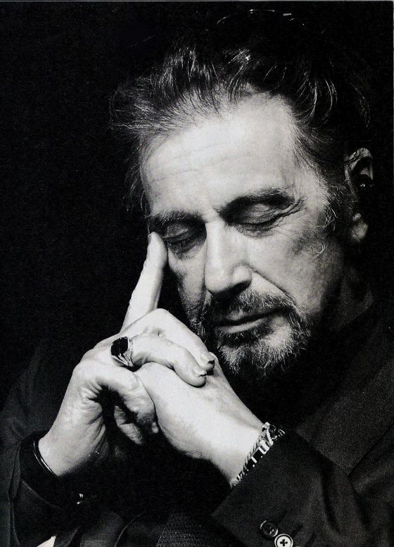 Al Pacino, the hands and closed eyes make this craggy gentlemen look soft and thoughtful