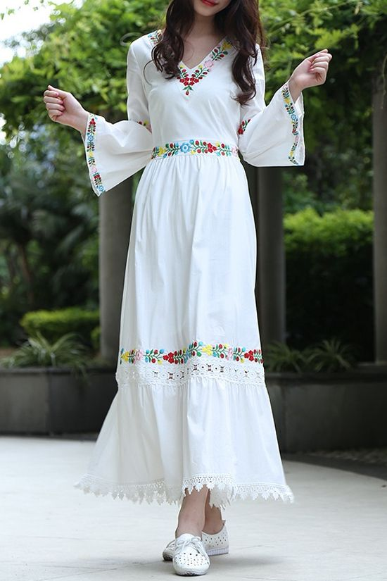 V Neck Flower Embaroidery Maxi Dress