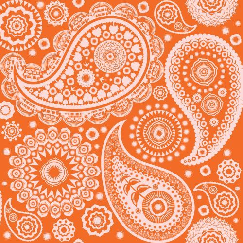Paisley Crescent Tangerine Dream Wallpaper By Mini Moderns