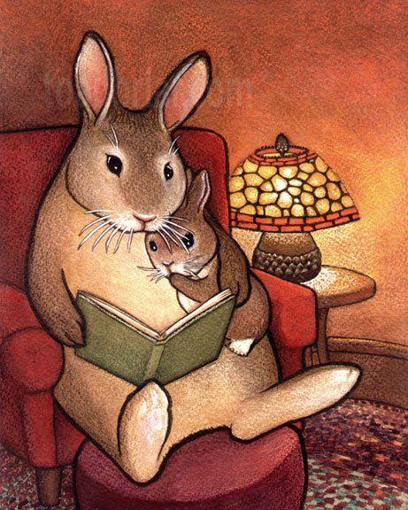 Cute Illustrations - Questo è un segno 8 x 10 stampa da Kim Parkhurst.    Profondo nelle loro tane, coniglietti leggere emozionanti storie di coniglietto di lamplight
