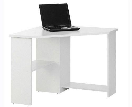 white corner office desk workstation study computer home furniture storage shelf