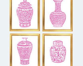 Pink Ginger Jar Digital Art Prints, INSTANT DOWNLOAD, Pink and White Chinoiserie Vases Set of 4