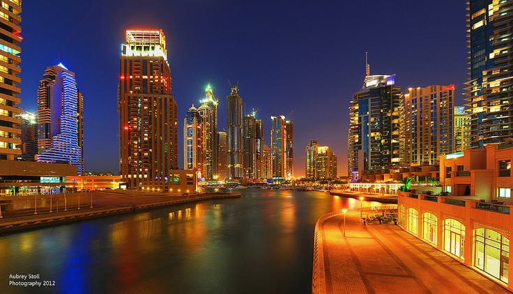 Photograph of Dubai Marina featuring the many apartments that litter this development.