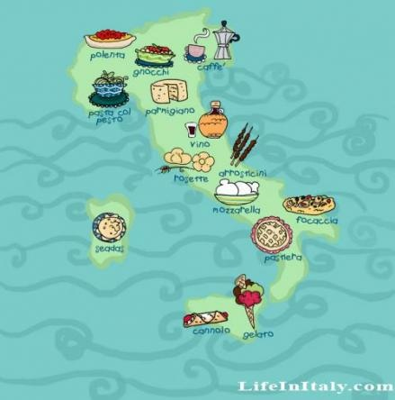 Regions of Italian Food. so funny where I am from Gelato is most found