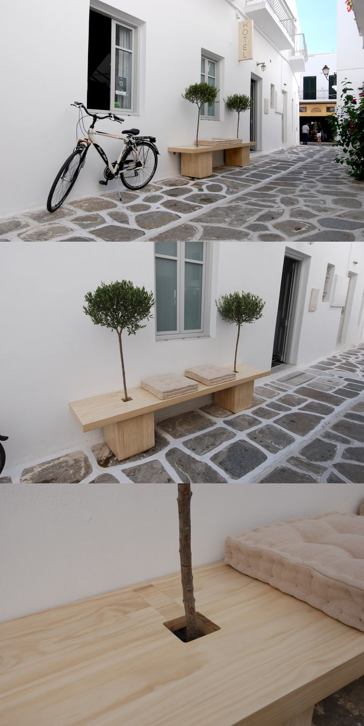 Bench & flowerpot at the same time? Oh yes! we used Accoya wood to make it last a lifetime. Outside of Argonauta Hotel in Paros island, Greece. By Kritikoswood company