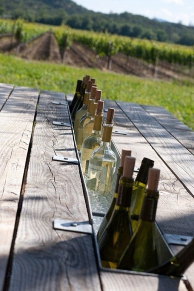 picknick table with a spot for your drinks, or anything to keep cool with ice for your cook-out