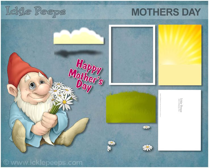A set containing all the parts required to make 1 Gnomish mothers day card (8 parts) in PNG format