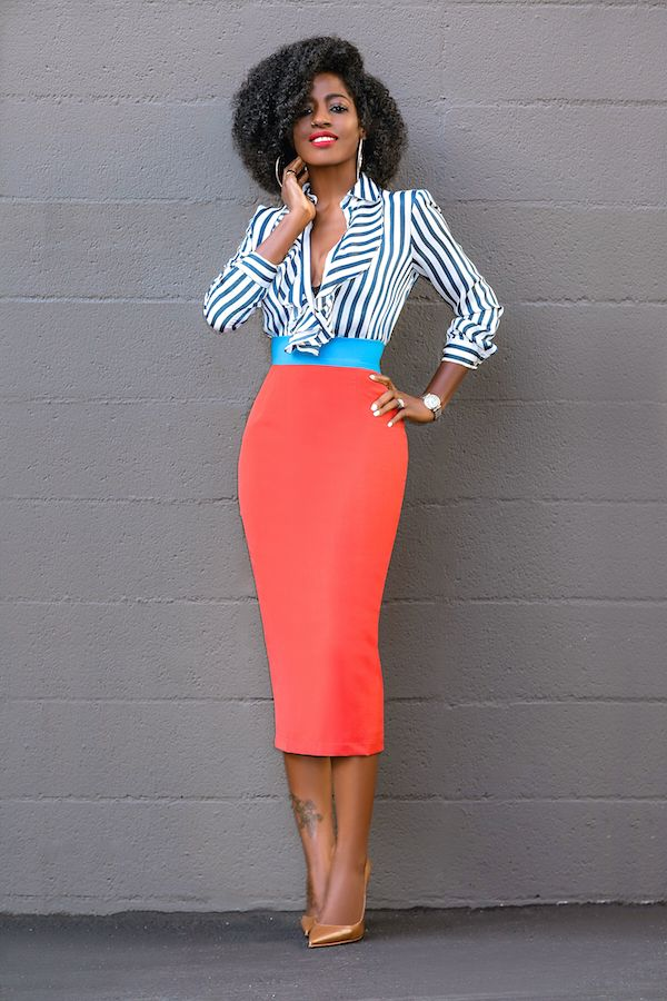 Style Pantry | Striped Ruffle Shirt + Color Block Pencil Skirt