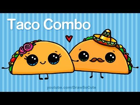 How to Draw Cartoon Tacos Cute step by step Easy - Cute Cartoon Food - YouTube