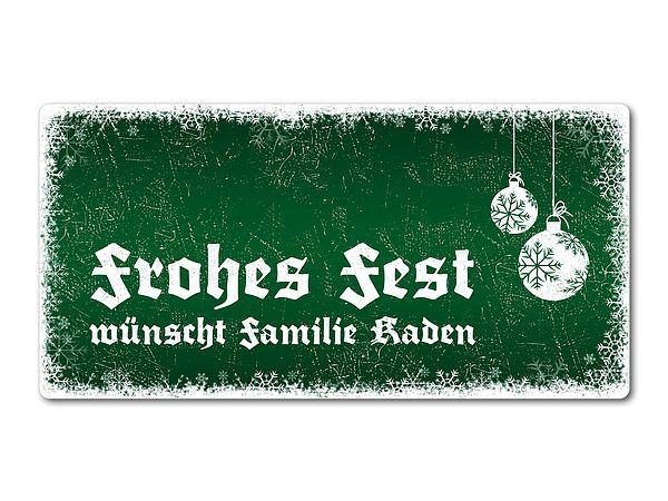 Winterdeko Schneegestöber - Blechschild zum Verschenken 200 x 100 mm grün. Schneegestöber in grün - Blechschild als personalisiertes Geschenk Das dekorative Schild im