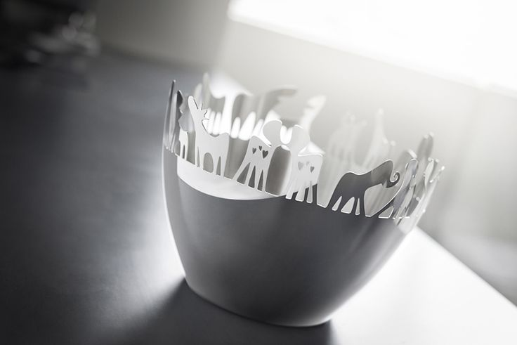 "Herd by Steelforme.com  18/8 stainless steel in a variety of functional objects.  ""The Herd line is a study of fictitious creatures displaying a variety of human feelings that are manifested through our own personal relationships.Laser cut stainless steel bowls and other functional objects with imaginary animals."""