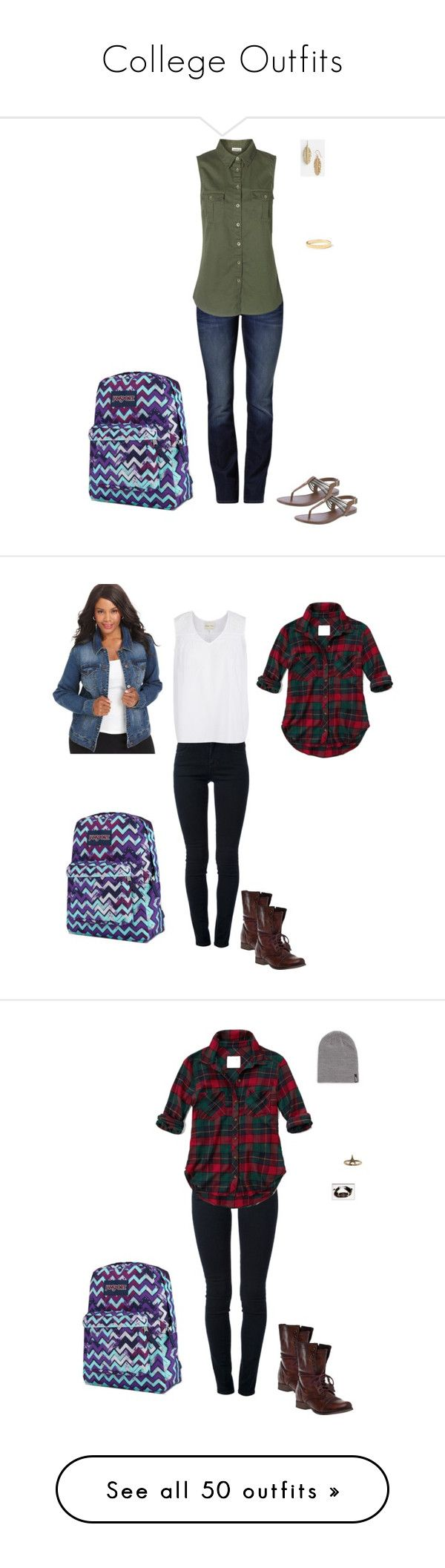 """""""College Outfits"""" by maddieshu on Polyvore featuring Mavi, Vero Moda, Melinda Maria, Kate Spade, JanSport, STELLA McCARTNEY, Abercrombie & Fitch, Style & Co., Steve Madden and Vans"""