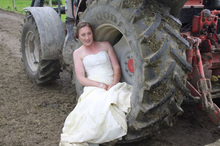 Tractor tyre. Trash my wedding dress