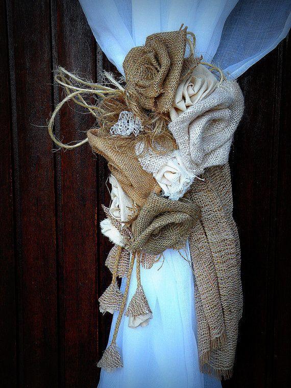 Burlap Curtain Tie Back  Burlap Jute Roses by MyBurlapStudio