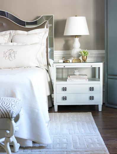 Nightstand. Chic bedroom design with purple tufted leather mirrored headboard, Hollywood Regency white nightstands, white gourd lamps, gray geometric rug, wainscoting, gray walls and blue silk folding floor screen - guest room
