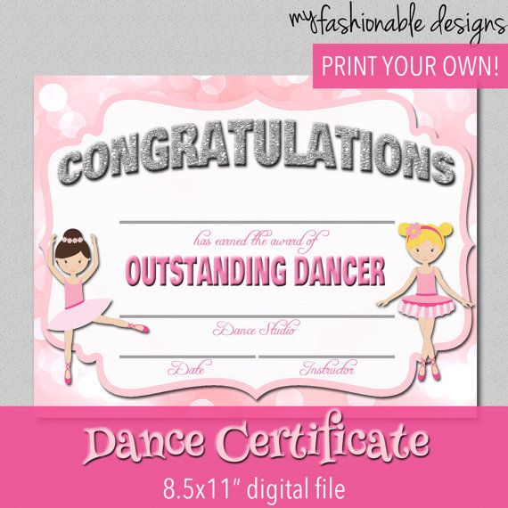 46 best acro awards images on pinterest award certificates dance certificate print your own instant download yelopaper Choice Image