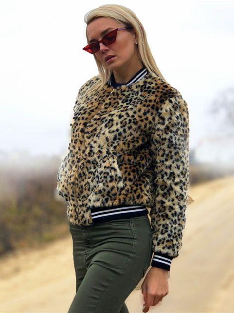 6fcb7c2d6108 SHEIN Multicolor Elegant Highstreet Contrast Striped Zip Up Leopard Print  Jacket