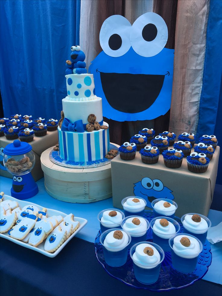 Cookie Monster Cake Sweet Table In 2019 First Birthday