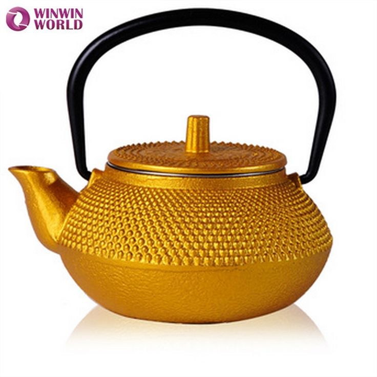 50ml Mini water cast iron teapot Small Pot 5 style Christmas Gift for friends Japannese old tea pot Gold color WW-MT014