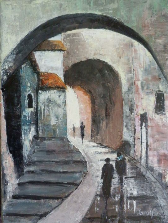 Under arcades - Maria Karalyos - Paintings & Prints, Landscapes & Nature, Cityscapes, Other Cityscapes - ArtPal