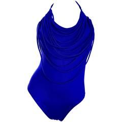 Amazing Vintage Bill Blass Royal Blue Avant Garde One Piece Swimsuit Bodysuit