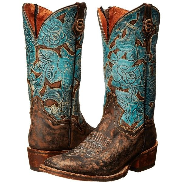 Dan Post Garden Party (Chocolate Distressed/Turquoise) Cowboy Boots ($196) ❤ liked on Polyvore featuring shoes, boots, brown, mid-calf boots, western cowgirl boots, brown cowboy boots, distressed cowboy boots, square toe cowgirl boots and platform boots