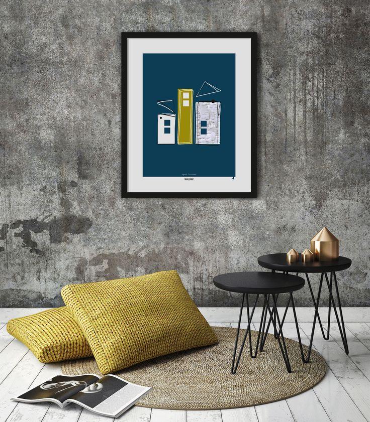 """Open Houses Blue har en dyb mørkeblå baggrund. Plakaten er minimalistisk i sit udtryk og leger med en sjov og meget konkret afkodning af """"åbent hus"""". Kom i godt humør af denne plakat, der er designet i nordisk stil og kombinerer foto, rene grafiske flader og kreative streger."""