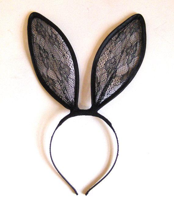 Black lace bunny ears headband UK. by talulahblue on Etsy