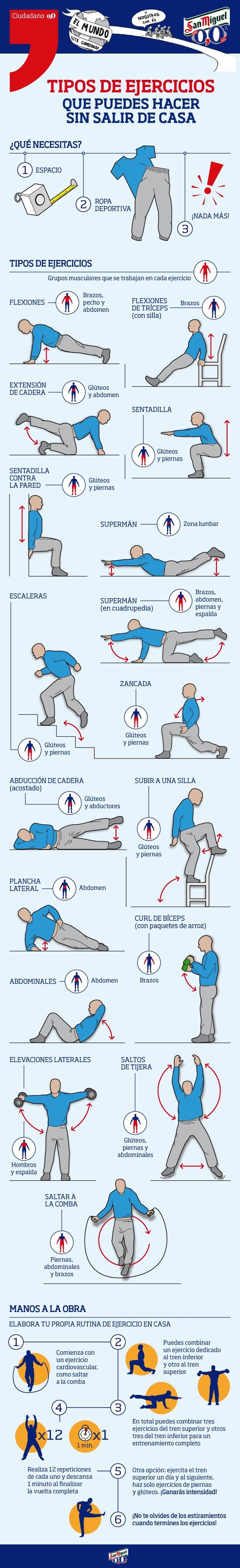 Cómo ponerte en forma en casa con esta infografía con 17 ejercicios con tu peso corporal. Entrenar desde casa de forma rápida y divertida.