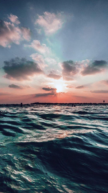 SUNSET SEA SKY OCEAN SUMMER BLUE WATER NATURE WALLPAPER HD IPHONE #wallpa…::…