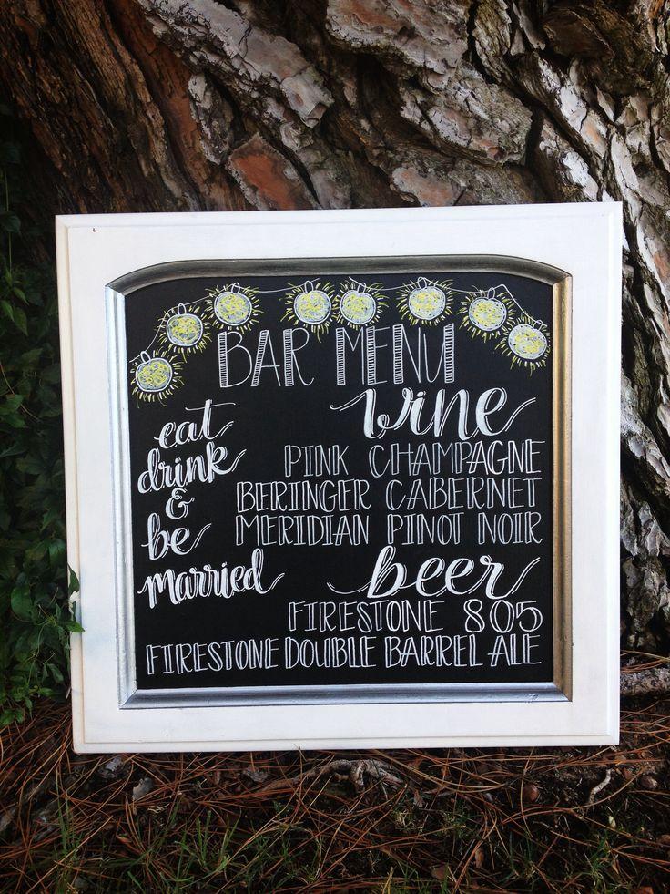 DIY Wedding Bar Menu Chalkboard!